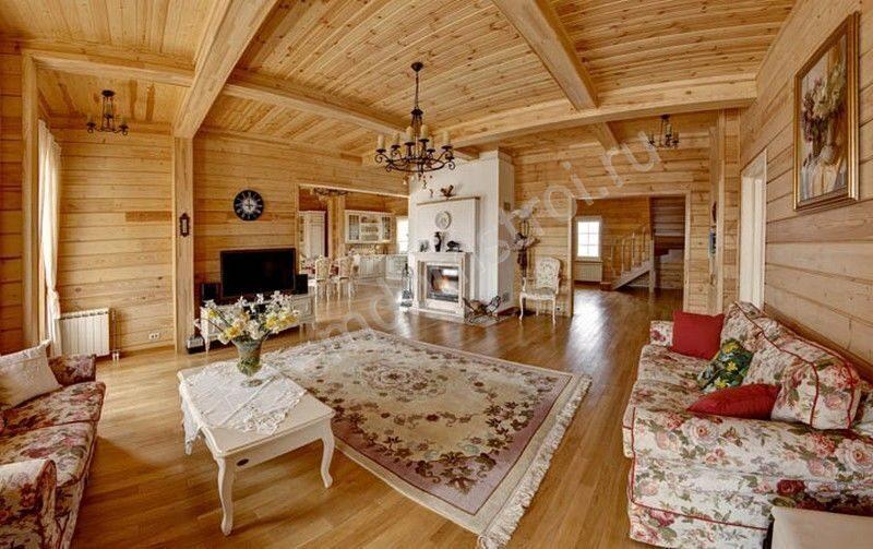 Дизайны гостиных в деревянном доме